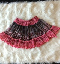 Skater Skirt Rachael And Chloe Pink Lace Bling Girls 12 Elastic Waist - $7.91