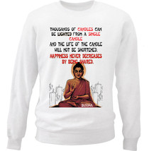 Buddha Happiness Quote - New White Cotton Sweatshirt - $34.53