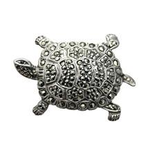 Silver Brooch Marcasite Turtle Vintage Jewellery for Women (DEV3-) - $37.00