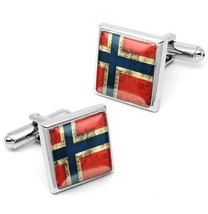 Silver Norway Scandinavian Cross Norwegian Flag Square Glass Cufflink Se... - $32.39