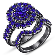 14K Black Gold Over 2Carat Sapphire Bridal Engagement Ring Set Silver 925  - $85.00