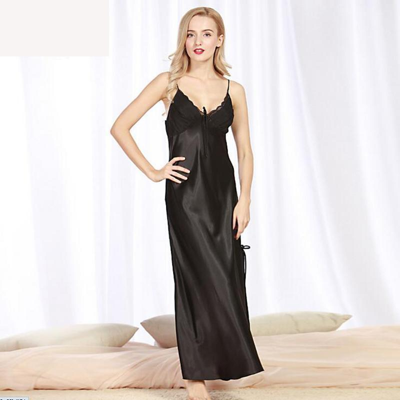 8cbe20ded71 ... Women s Long Satin Slip Sleepwear Nightgown Sexy Lingerie Night Dress  Navy ...
