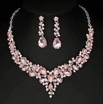 Stunning Austrian Crystal Necklace and Earrings Set, Pink image 3