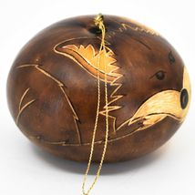 Handcrafted Carved Gourd Art Brown Fox Forest Animal Ornament Made in Peru image 4