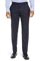 HUGO BOSS Huge/genius Trim Fit Solid Wool pant In Open Blue 40L - $148.49
