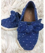TINY TOMS Shoes Bow Cotton Denim Canvas Fabric Girls Size T 7 Slip On Po... - $28.71