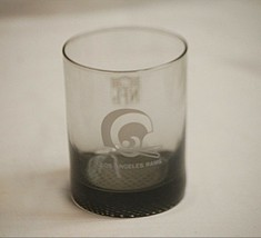 Vintage Los Angeles Rams NFL Double Old Fashioned Drinking Glass w Pebble Bottom - $12.86