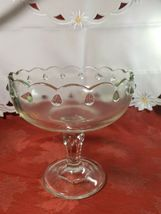 Vintage Indiana Glass Clear Teardrop Footed Compote Fruit Bowl image 3