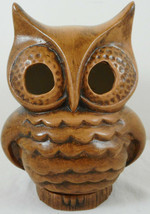 "Vintage Ceramic Owl Candlestick Holder 6"" Tall Brown Figurine - $12.86"
