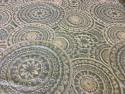 Embroidered Upholstery Drapery Fabric Ray of Light Mandala Sea Blue 1.625 yds PK