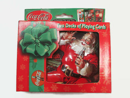 Coca-Cola Double Deck Playing Cards In 3-D Santa Tin Holiday Christmas  - $8.91