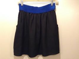 Joe Benbasset Black w Blue Waist Flare Skirt w Pockets Sz M