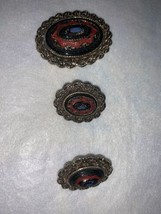 Vintage Sarah Coventry pendant Brooch clip on earrings ring set - $49.49