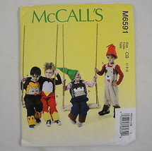 McCall's Sewing Pattern M6591 Costume Play Applique Animal Overalls Toddler 1-3 - $2.96