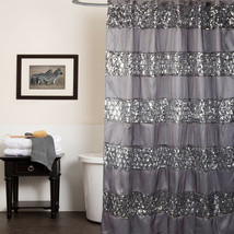 "Popular Bath Sinatra Silver Collection - 70"" x 72"" Bathroom Shower Curtain - $29.89"