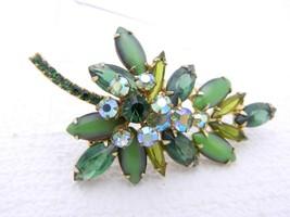 Vtg Juliana D&E Gold Tone Green Ab Rhinestone Navette Leaf Pin Brooch - $123.75