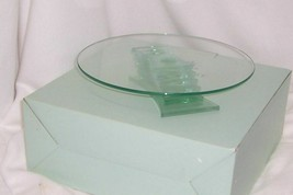 PartyLite Stratus 3-Wick Holder Green Tinted Glass Modern Sleek Elegant ... - $19.75
