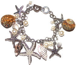 Starfish Ocean Beach Sea Shell Faux Pearl Link Ring Toggle Bracelet in S... - $20.21