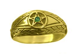 New Emerald stone Evil Eye wealth to positive ring Pentagram 24K Gold Pl... - $29.83