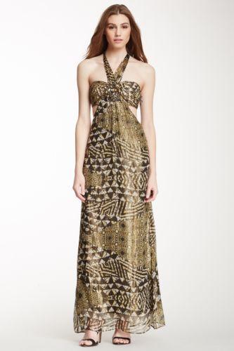 BCBG MAXAZRIA Maj Silk Blend Halter Maxi Dress Sz. 4