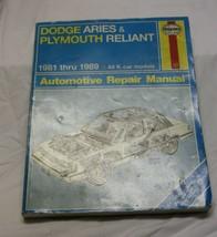 Haynes Repair Manual Dodge Aries & Plymouth Reliant 1981-89 - $12.86