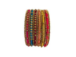 Silk Thread Wrap CZ Bangle Set Indian Designer 12 PS Multi-Color Fashion... - $9.99