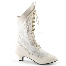 Ivory Gothic Victorian Steampunk Vintage Burlesque Wedding Lace Ankle Boots - $100.11