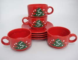 Waechtersbach Christmas Tree 4 Flat Cups and Saucers Germany Very Good V... - $39.59