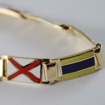 MASSIVE SOLID 18K YELLOW GOLD BRACELET WITH GLAZED NAUTICAL FLAGS, MADE IN ITALY image 2