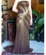 Beaded Brown Silk Gold Prom Formal Evening Pagent Gown Train Studio 17 S... - $76.50