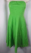 Women's J Crew 0P strapless dress bright green cotton seersucker 0 petit... - $7.99