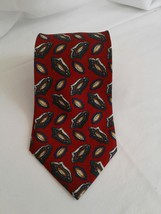 NWT CHAPS RALPH LAURENMENS TIE RED MULTI GEO PRINT SILK MADE IN USA - $9.49