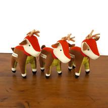 Starbucks Reindeer Plush Deer Plaid Corduroy Stuffed Animal Antlers Set 3 2008 - $24.70