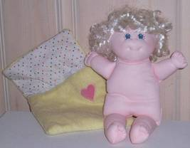 "Soft Sculpture Doll Platinum Curls 11"" Girl in Soft Snuggle Yellow Bunting - $12.99"
