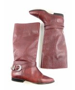 Flings Women's Boots Red Crocodile Embossed Leather Buckle Low Riding Sh... - $53.30