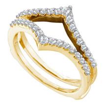 14k Yellow Gold Round Diamond Ring Guard Wrap Enhancer Wedding Band 1/2 ... - $964.40