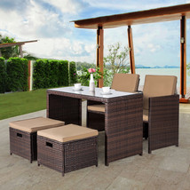 5 Piece Wicker Furniture Bar Set Dining Set Cushioned Patio Outdoor Spac... - $329.99