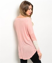 Xtaren Women's Blush Long sleeve with crochet lace elbow patches Size-Lg... - $16.82