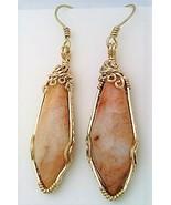 Agate Drop Gold Wire Wrap Earrings 1 - $45.00