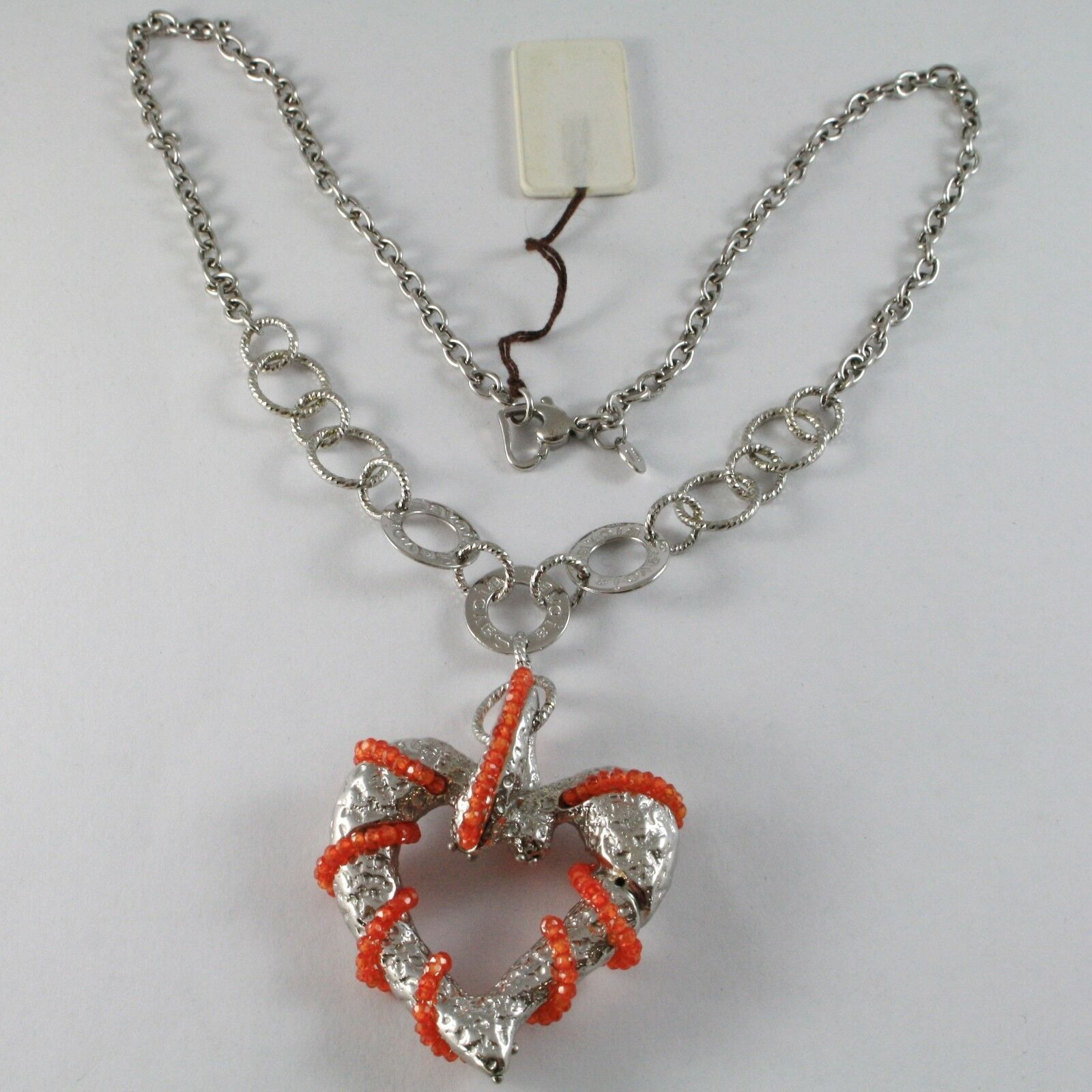 Necklace Silver 925 with Pendant Big Heart Milled and Carnelian, Chain Rolo '