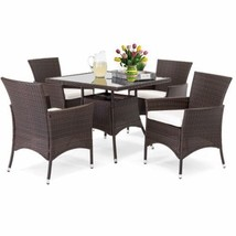 Wicker Patio Dining Set Rattan Cushioned Chairs 5 Piece Outdoor Garden F... - €377,26 EUR