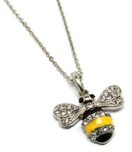 Silver Tone Rhinestone Black Yellow Bumble Bee Pendant Necklace - £15.27 GBP