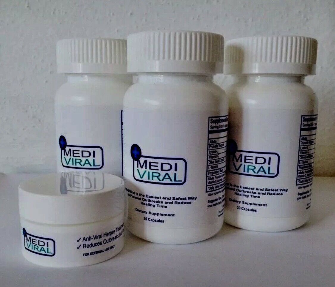 3 bottles MediViral Extra Strength Herpes Daily Supplement and Topical Cream 3