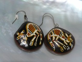 Estate Tribal Painted Kangaroo Large Brown Nut Dangle Earrings for Pierc... - $10.39