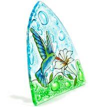 Fused Art Glass Hummingbird & Flower Nightlight Night Light Handmade Ecuador image 4