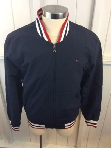 Tommy Hilfiger Blue Box Logo Zip Up Lined Jacket Size L Members Only Style
