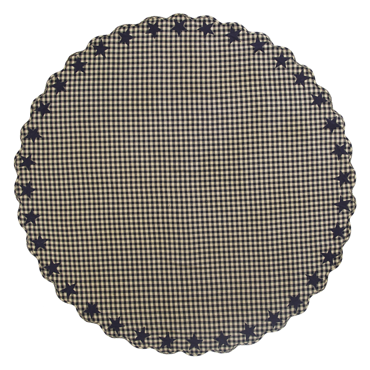 "BLACK STAR Scalloped Table Cloth - 70"" Round - Farmhouse Black/Tan - VHC Brands"