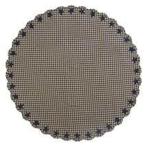 "BLACK STAR Scalloped Table Cloth - 70"" Round - Farmhouse Black/Tan - VHC Brands"