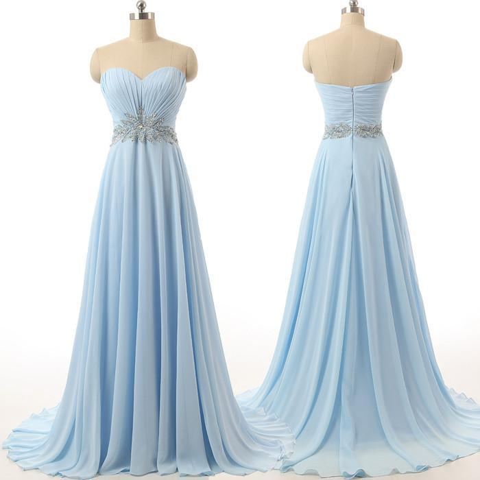 long prom dress,chiffon Prom Dress,sweetheart prom dress,blue prom dresses