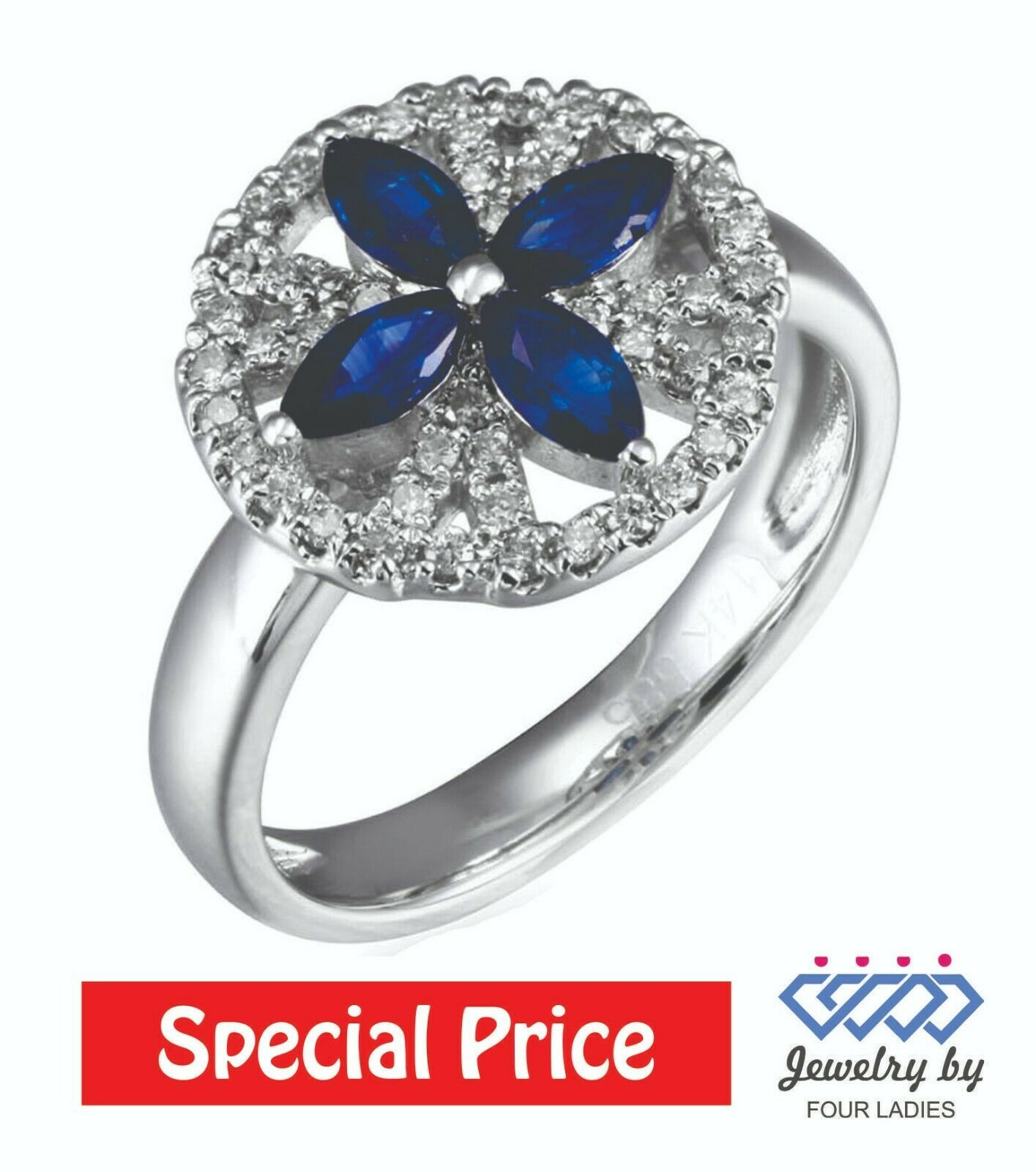 Primary image for Solid 14K White Gold 0.27CT Natural Blue Sapphire Flower Diamond Ring Jewelry